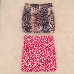 2 Sexy Animal Reptile Cheetah Print Mini Skirts Sm